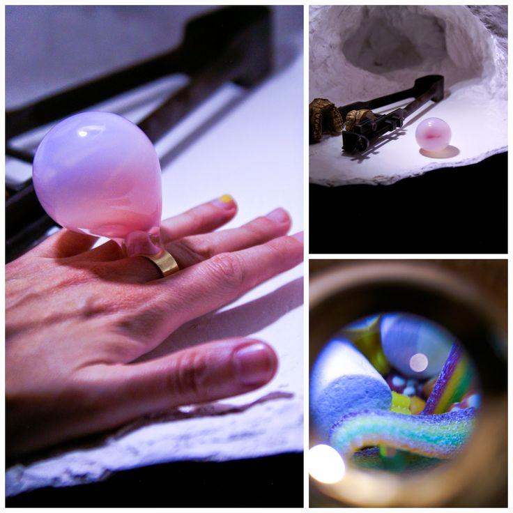 Glass bubblegum on the ring designed by Czech designer Michaela Mertlova