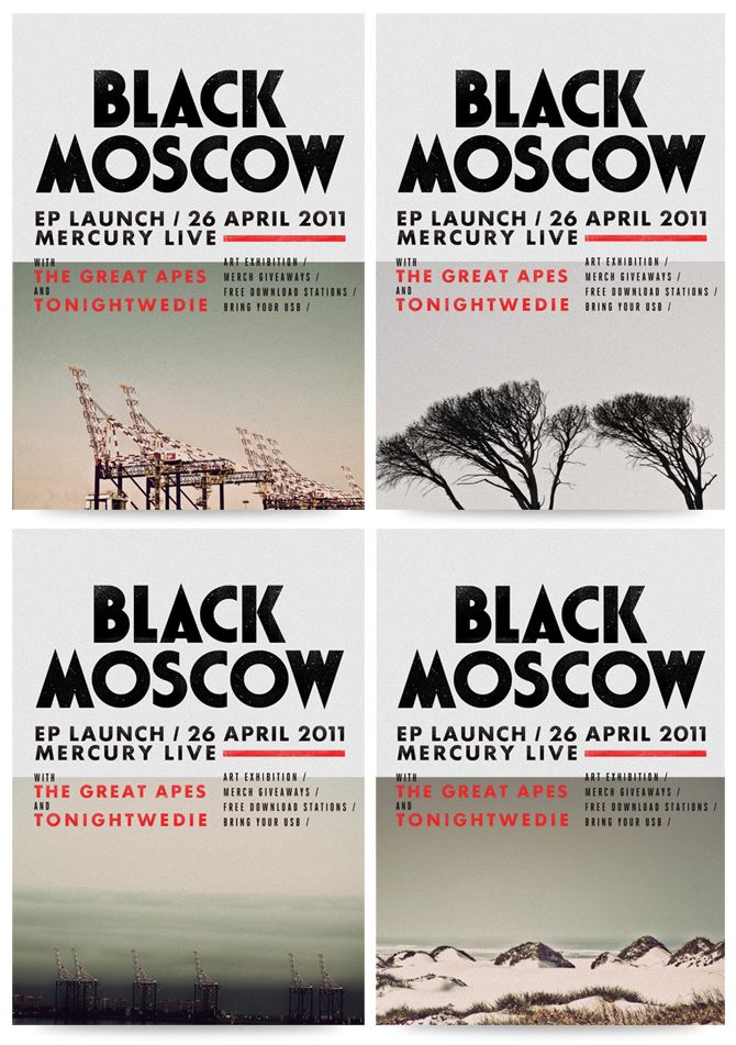 Cape Town based rock band Black Moscow logo, initial look, EP artwork and promotional collateral by Adam Hill