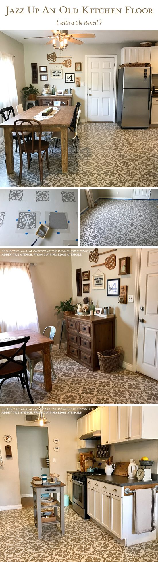 25 best painted floor tiles ideas on pinterest painted kitchen cutting edge stencils shares a diy stenciled and painted linoleum kitchen floor using the abbey tile stencil
