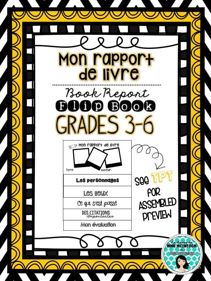 Mon Rapport De Livre Book Report Flip Book Grades 3 6