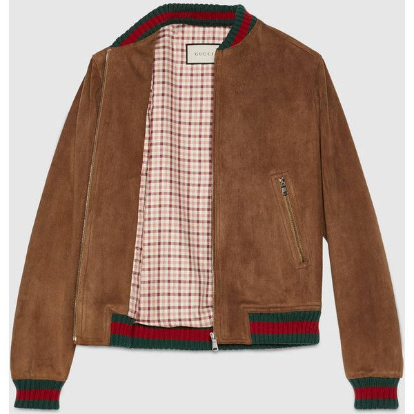 Gucci Suede Jacket With Web ($2,980) ❤ liked on Polyvore featuring men's fashion, men's clothing, men's outerwear, men's jackets, mens suede bomber jacket, gucci mens jacket, mens suede jacket and mens suede leather jacket