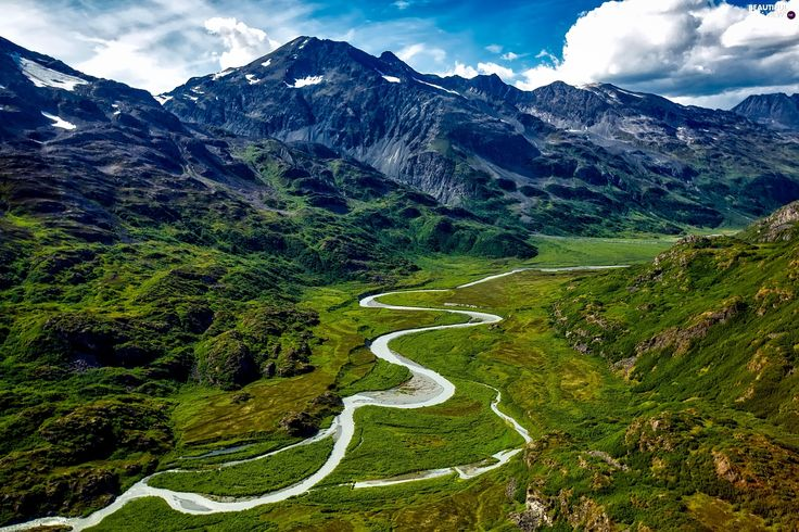 Valley, clouds, roads, Mountains, green, Sky
