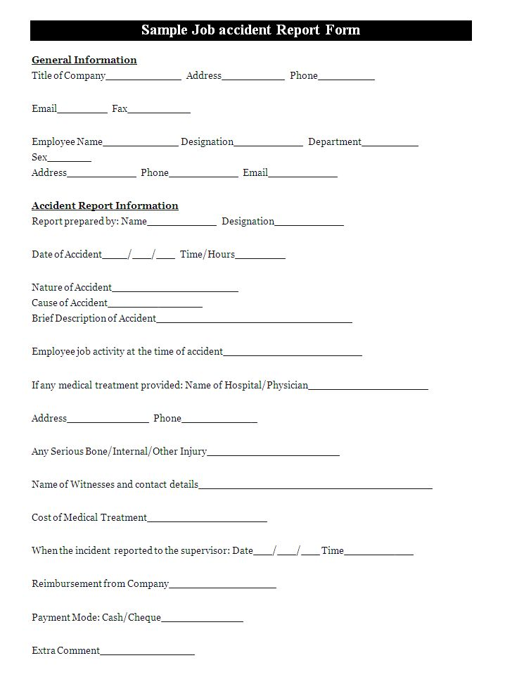 work incident report form Template – Incident Form Template