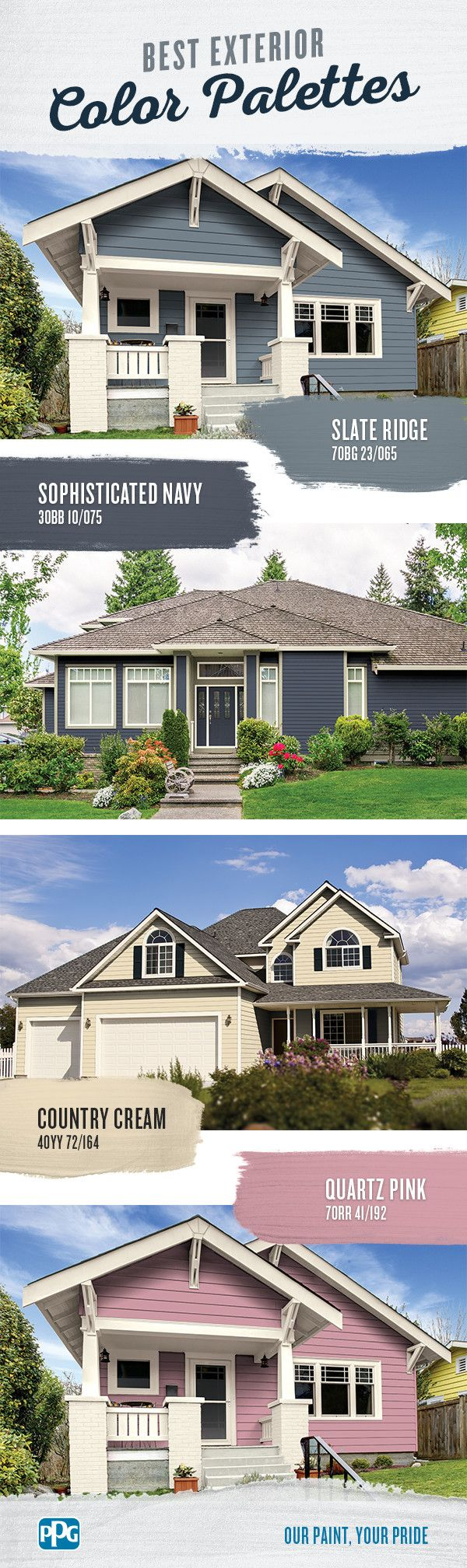 Best Exterior Color Palettes | Thoughtful exterior color schemes can help add curb appeal to any home. Well-chosen exterior paint colors and exterior color schemes can also show off your style and bring attention to the house's beautiful details.