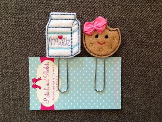 Felt Milk and Cookie Paperclip Set, Cute Bookmarks, Planner, Organizer, Filofax, Calendar