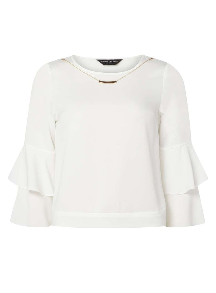 Womens Ivory Ruffle Necklace Top- White