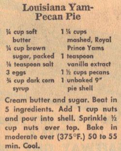 Louisiana Yam-Pecan Pie Recipe Clipping | RecipeCurio.com
