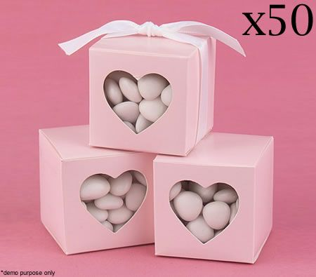 Wedding Party Favour Boxes x 50 & Ribbons - Heart Shaped Cutout - Pink - Save 86%.