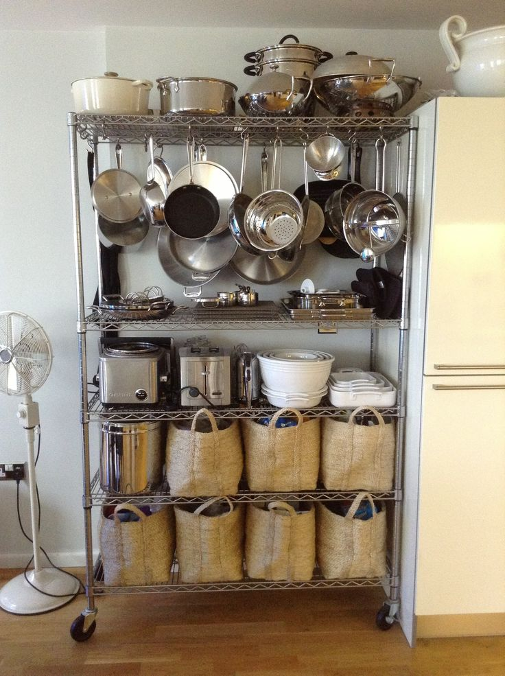 Hang pots and pans from bakers rack organize pinterest for Kitchen s hooks for pots and pans