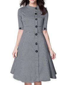 Чёрно-белое клетчатое платье. воротник-стойка