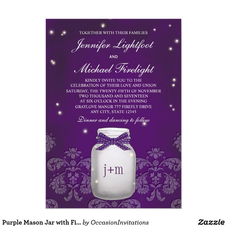 Purple Mason Jar with Fireflies Wedding Card A gorgeous purple and plum hued firefly mason jar wedding invitation that looks like it glows. Add the initials and or monogram of the bride and groom to the jar with a printed ribbon look design. A subtle vintage damask antique lace border compliments this rustic yet elegant design with enchanting fireflies inside and outside of the jar. These invites are beautiful for a nighttime, barnyard, farmhouse or country themed wedding. Artwork © Chrissy…