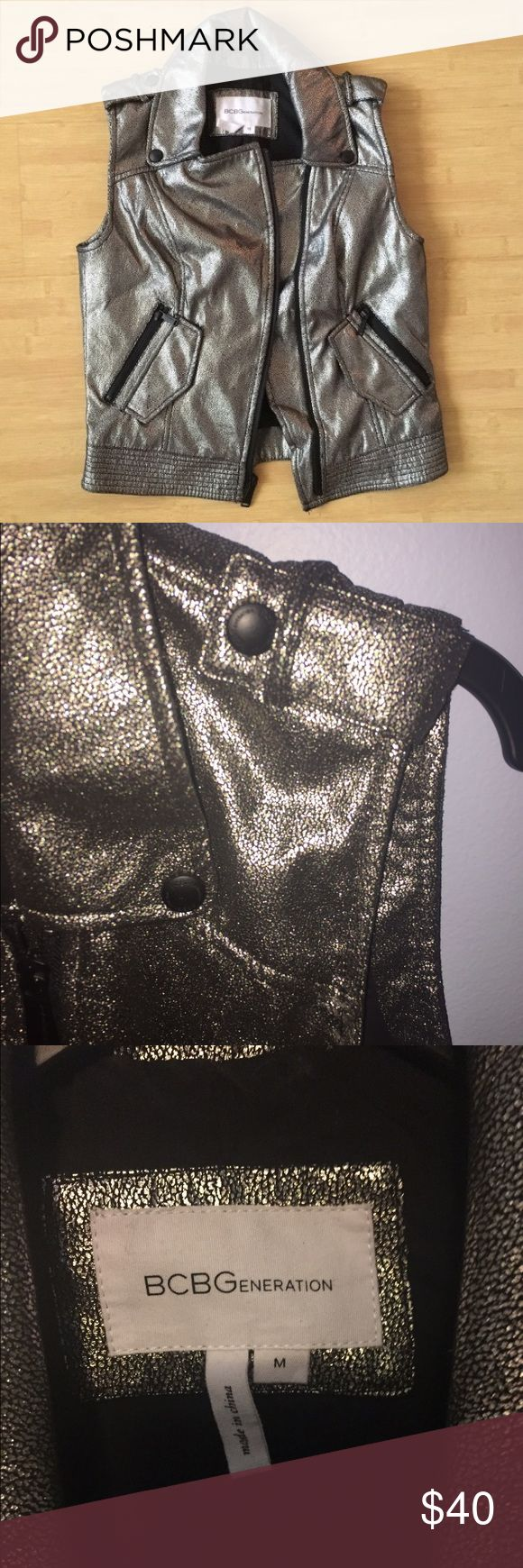 Metallic vest Fun and edgy silver metallic vest! Only work once !!! BCBGeneration Jackets & Coats Vests