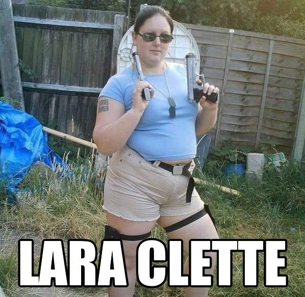 insolite cosplay croft gros lara raclette raider tomb