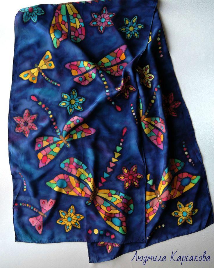 Купить Батик шарф из натурального крепдешина Стрекозы - комбинированный, рисунок, ярко-синий, яркий аксессуар