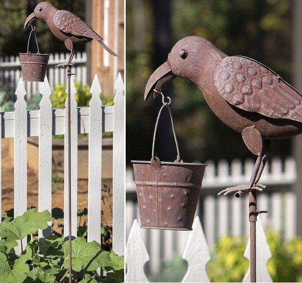 Folk Art Crow Feeder | Unique Bird Feeder | Garden Stake Bird Feeder Antique Farmhouse