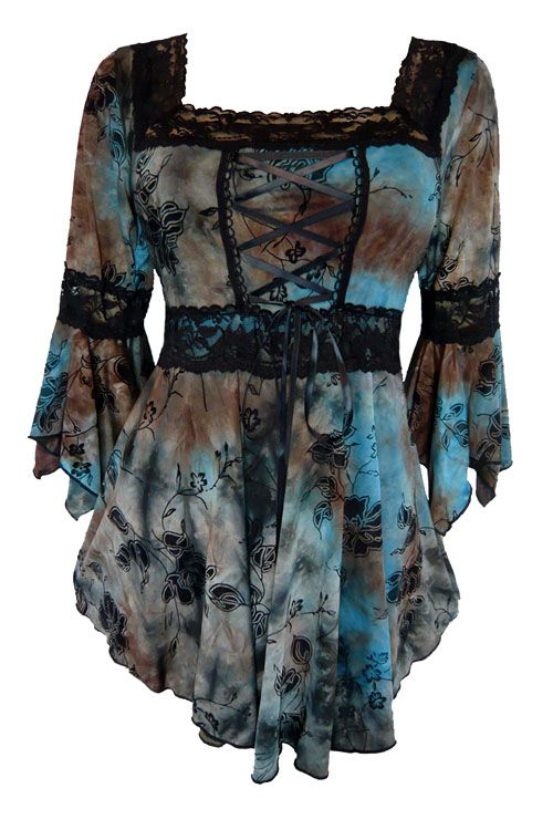 Dare to Wear Gothic and Victorian inspired plus size Renaissance corset top in Evening Sky