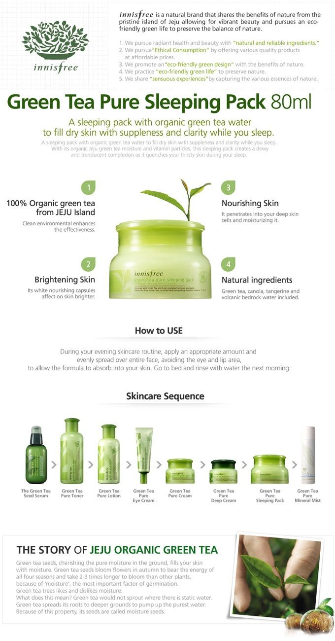 Innisfree Green Tea Sleeping Pack is a sleeping pack with organic Jeju green tea moisture and vitamin particles. It quenches your thirsty skin while you sleep, leaving it supple and clear.