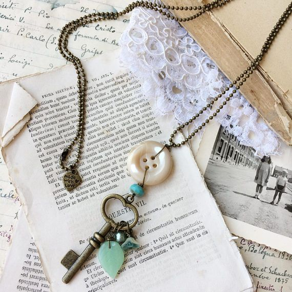 Long necklace with vintage button pendant and key. Boho style