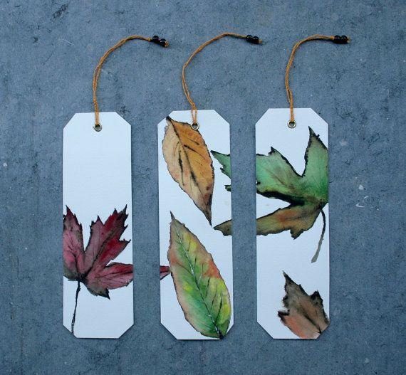 3 Bookmarks Originals watercolors Autumn leaves II by SilviaCairol, €15.00