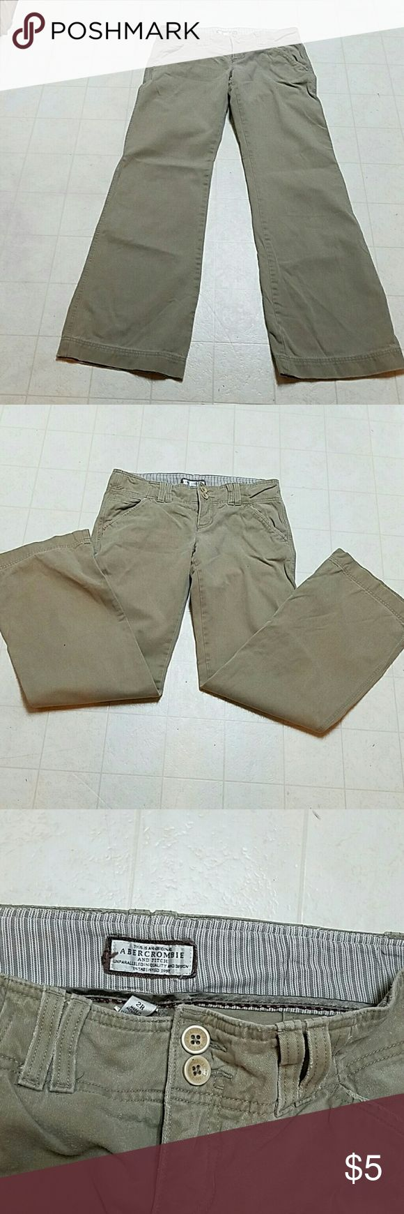Abercrombie and Fitch women's khaki Womens khaki pants made by Abercrombie & Fitch. In size to regular bootcut bottom. 100% cotton. Inseam is 30 inches real cute back pockets Pants Boot Cut & Flare