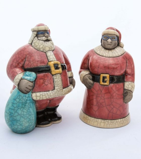 Mr. & Mrs. Santa Claus Figurines - Potbelly Handmade Ceramic Figurines. Buy it from Wave2Africa - an online gift and decor boutique.