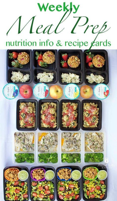 Weekly meal prep ideas including a meal prep plan, recipe cards and nutrition info! ---Strawberry Peanut Butter Oatmeal Muffins ---Turkey Spinach Meatballs with Pasta and Marinara ---Paleo Creamy Mushroom Chicken ---Turkey Taco Salad