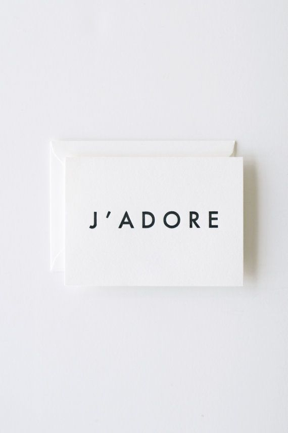 J'Adore - Letterpress Printed Note Card