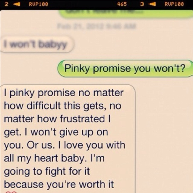 Its not, but it looks just like a text from Keay :) I always make him pinky promise things!