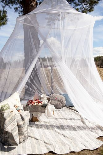 I could do this with hoopla hoop and tule let's have a picnic without then flies :)