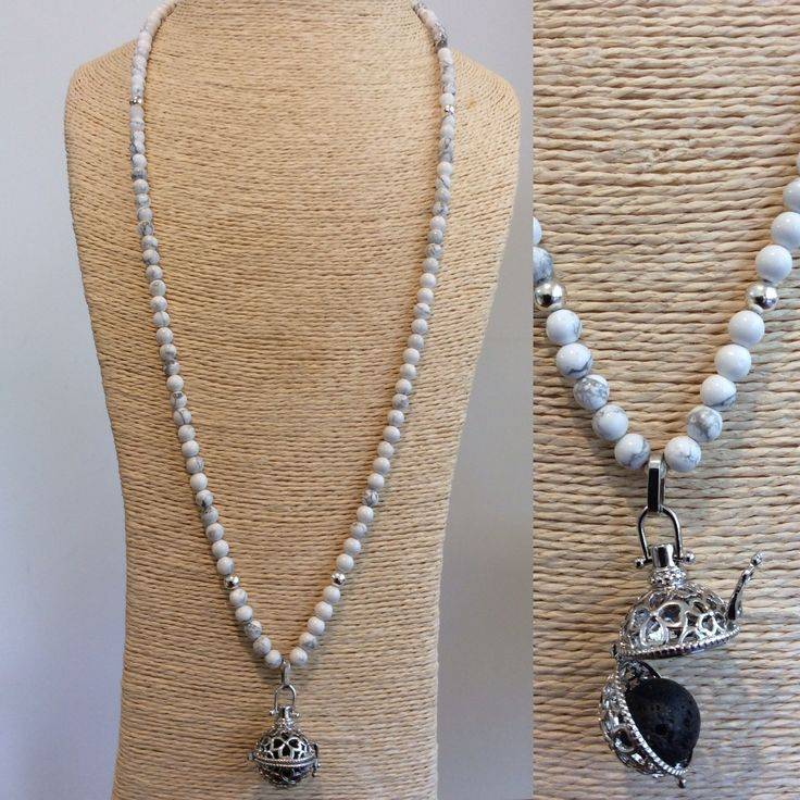 Lava & Howlite diffuser necklace by Ooh La Lava. #lavafashion