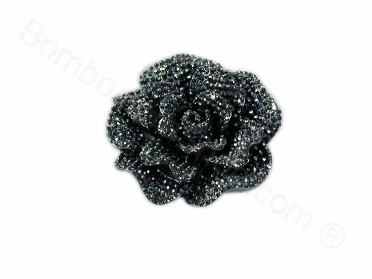 Bocciolo di rosa in acrilico colore nero con strass
