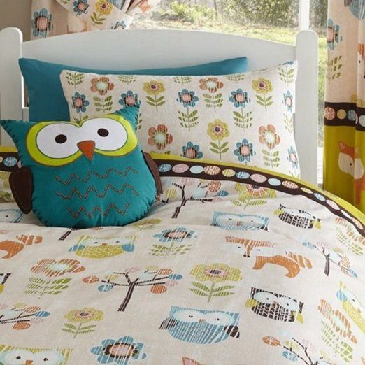 SINGLE BED DUVET COVER & 1 PILLOW CASE SET WOODLAND CREATURES multicoloured in Home, Furniture & DIY, Bedding, Bed Linens & Sets | eBay