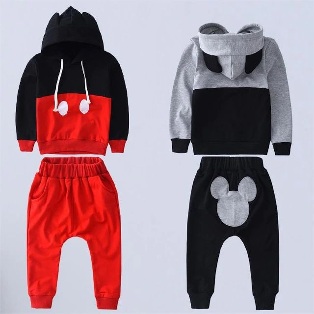 2015 New Mickey Kids Clothes Boys Clothing Set Baby Girls Clothes Set Srping Autumn Hoodies Set Children Clothing set Hooded