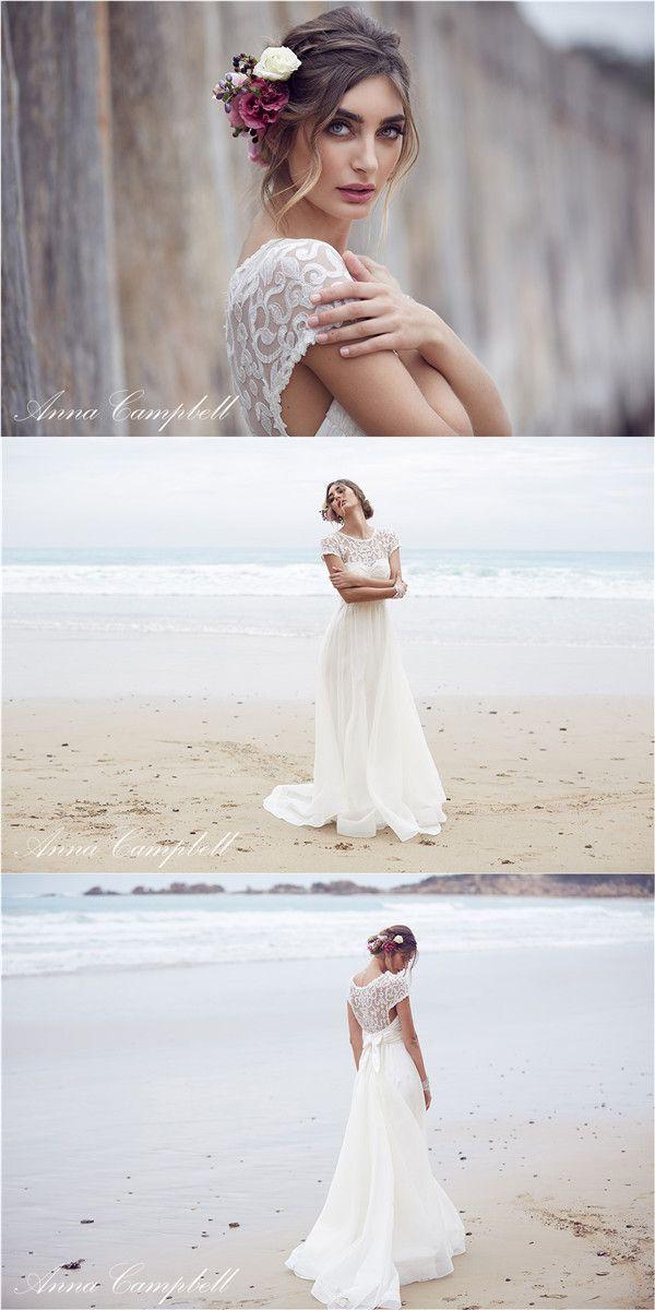 Anna Campbell A Line Hochzeitskleider Brautkleid aus Chiffon und Vintage Spitze Anna Campbell wunderschöne Boho Style Brautkleider Kollektion