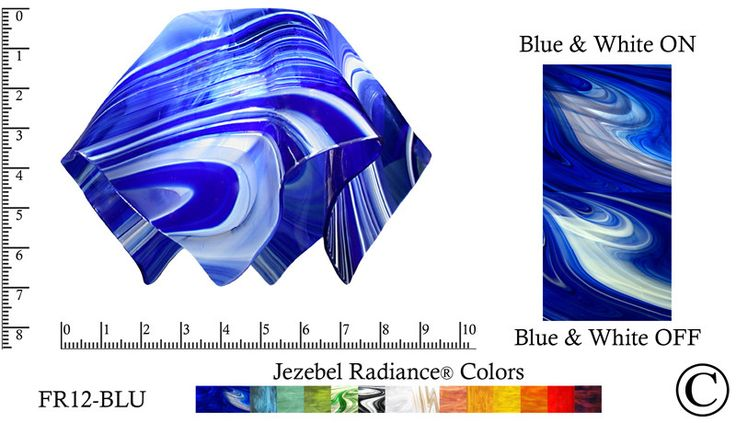 """Jezebel Radiance® Small Flame Blue and White Glass Pendant/Ceiling Fan Light Replacement Glass Shade, 1 5/8"""" hole"""