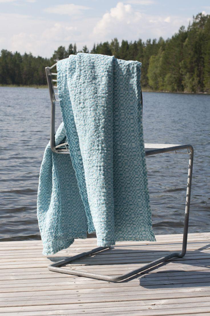 Longing for Summer. Snäckskal (seachells), Linen Bathtowel made in Sweden. Pure linen.