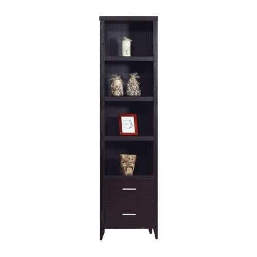 Well- Designed Media Tower With Display Shelves, Dark Brown