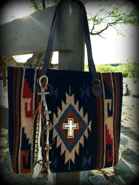 Navajo Tote Bag Handmade Recycled Charms Copper Cross Handbag Saddle Blanket Southwest Rustic Boho Jewelry Rug