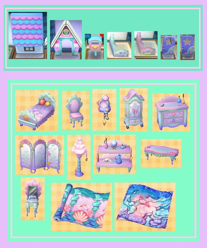 This image shows the complete set of the Mermaid series for exterior and  interior design for your home in Animal Crossing  New Leaf 67 best Acnl images on Pinterest   Qr codes  Animal crossing qr  . Minimalist Chair Acnl. Home Design Ideas