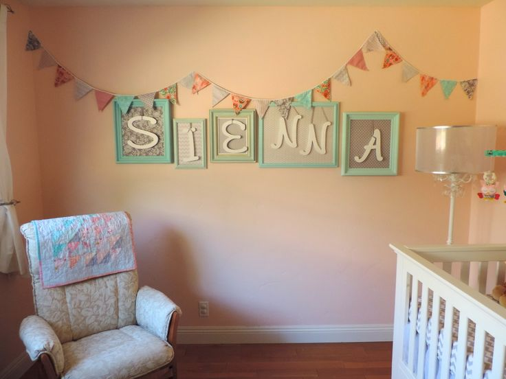 Super-simple wall decor - frame the letters of your child's name and add fabric! #walldecor