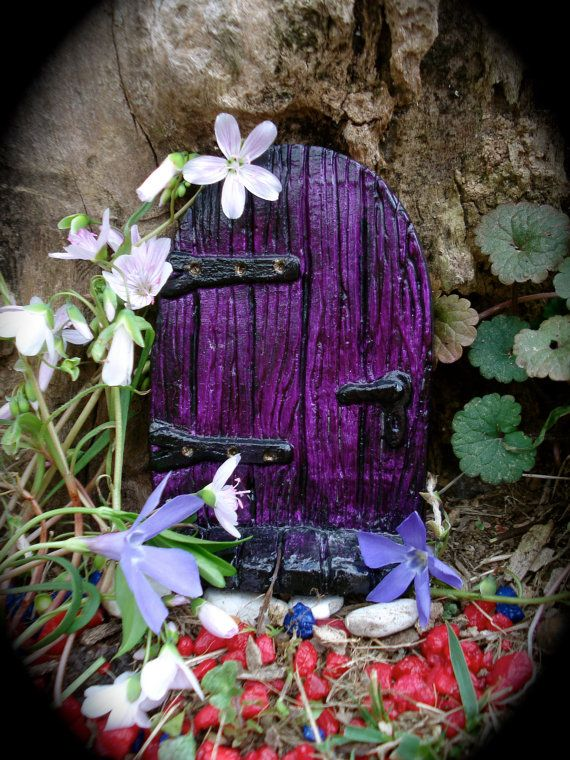 Purple! Fairy Door KIT The Leddiq Door Die Stone by FairybehindtheDoor, $16.99