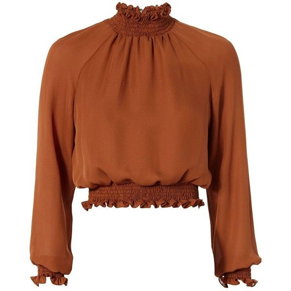 Cinq à Sept Women's Smocked Crop Blouse ($219) ❤ liked on Polyvore featuring tops, blouses, brown, long sleeve tops, crop top, brown silk blouse, high neck crop top and silk blouses