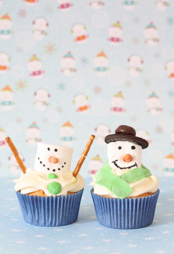 Recept Sneeuwpop cupcakes maken! Kerst snack.