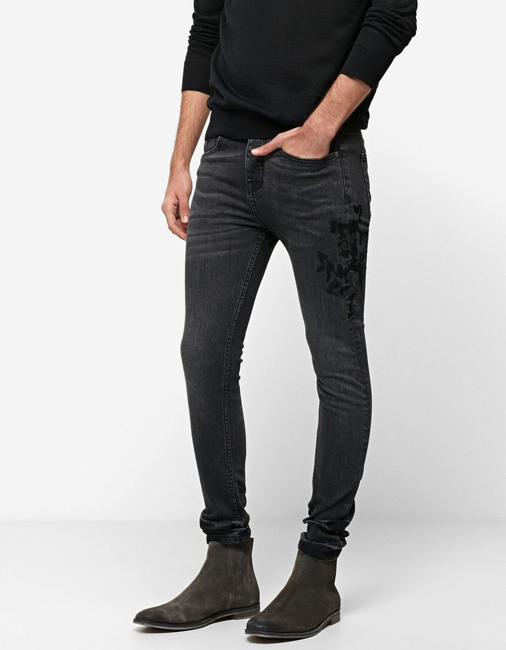 Skinny trousers with side embroidery - Trousers | Stradivarius Greek - Winter Sale
