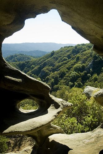 Looking out over the Santa Cruz Mountains from a cave at Castle Rock State Park.