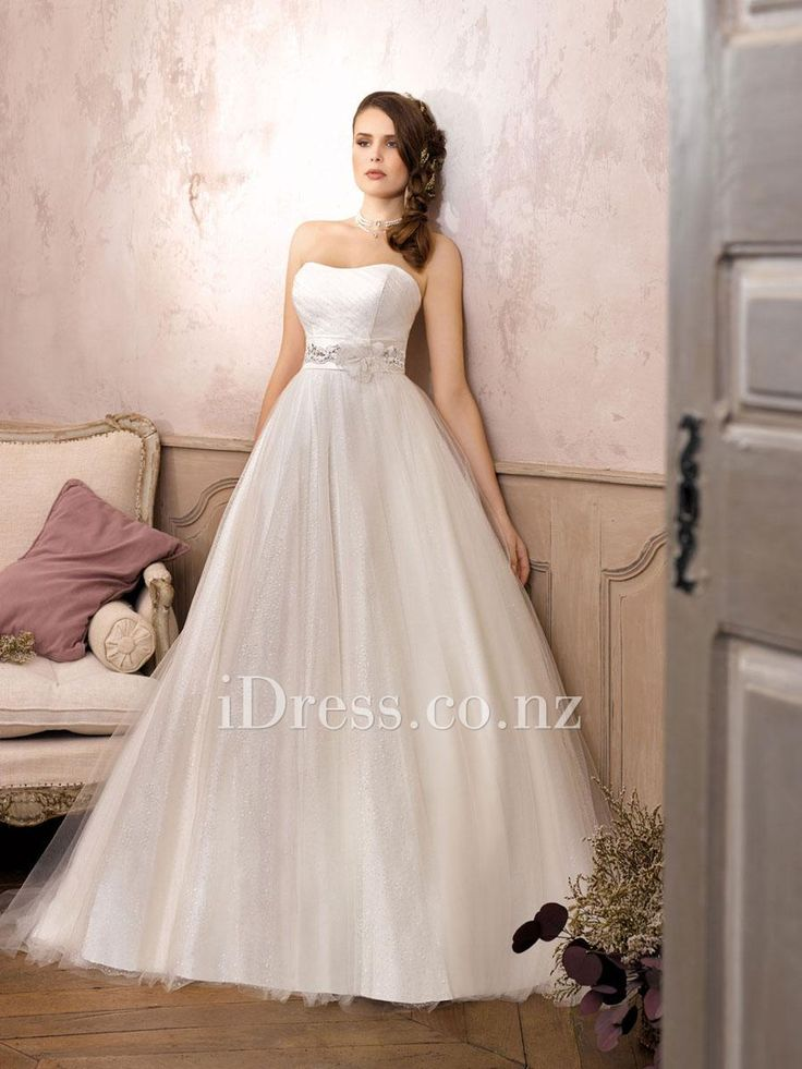 simple ball gown strapless tulle over satin wedding dress with flower belt from idress.co.nz