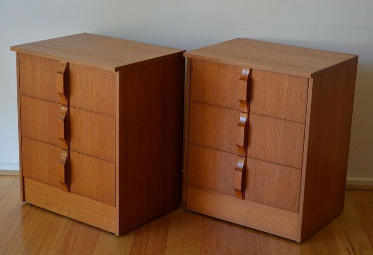 retro mid century danish modern teak bedside tables / drawers x 2 by Burgess