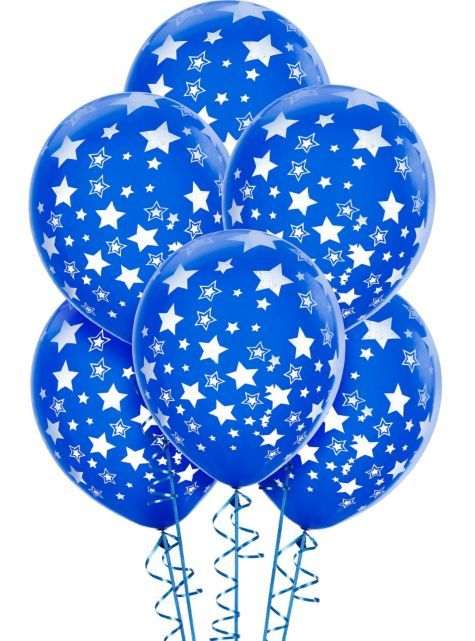 Latex Royal Blue Star Printed Balloons 12in 6ct - Party City