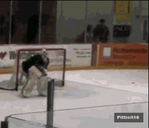 Fleury doing a cartwheel in full gear on skates. I couldn't even do one in gym class.