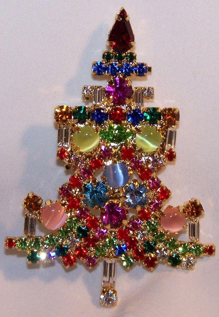 Rhinestone Christmas Tree Pin Candle Tree Pin Cat's Eyes Stones Prong Set Signed | eBay